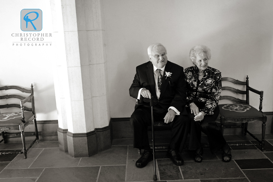 Jackie's grandparents watch people arrive at Myers Park Presbyterian Church