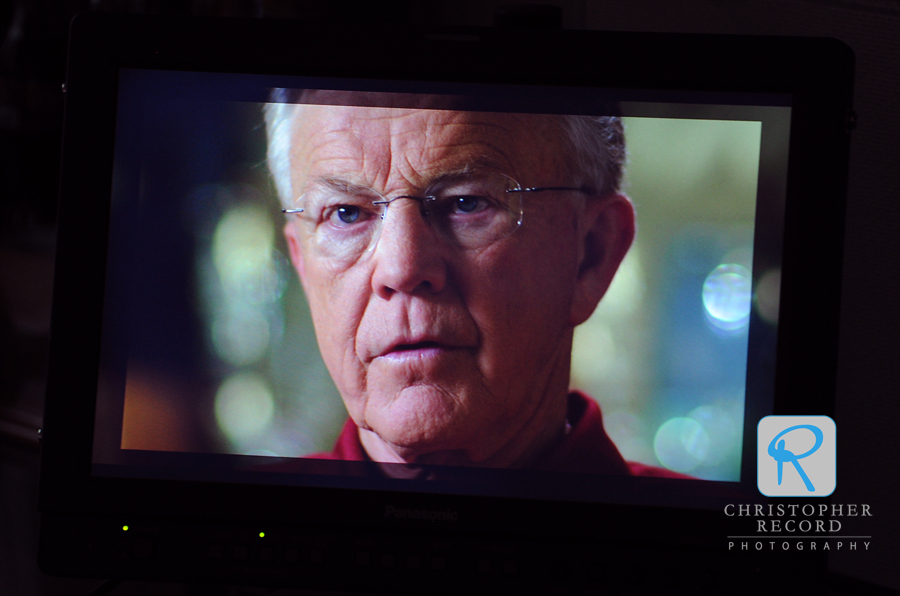 Gibbs on screen during filming