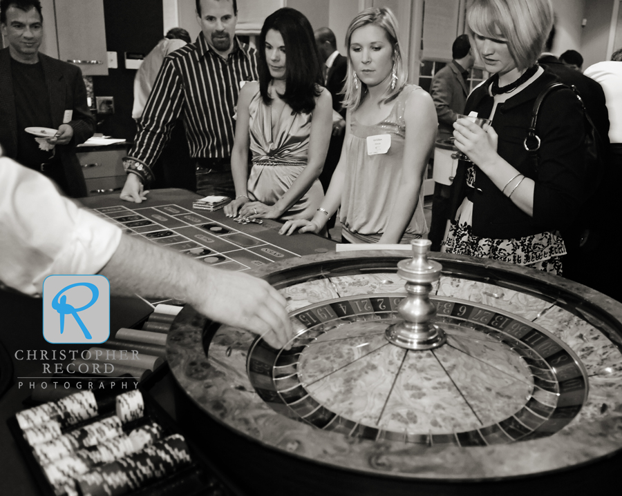 Guests ready for a spin of the roulette wheel