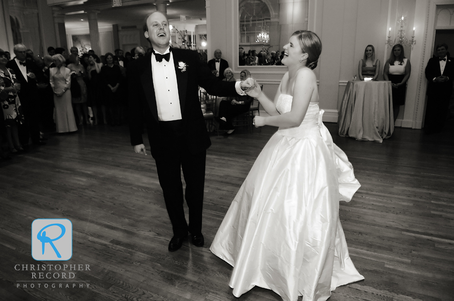 Sarah and Brant had fun with their first dance