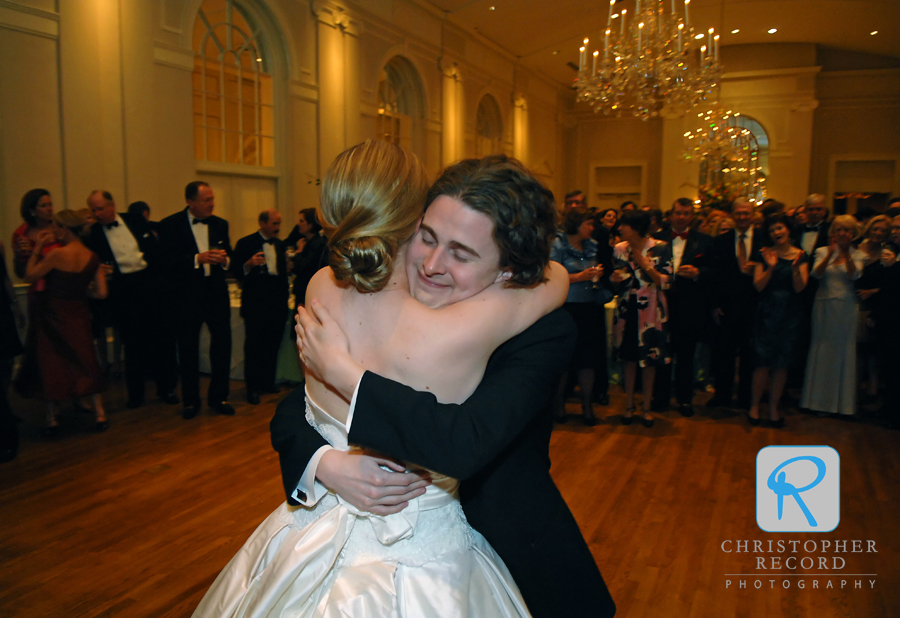 Sarah gets a big hug from her brother after they danced