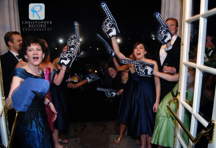 I've photographed many, many weddings, but this was my first official foam-finger send off