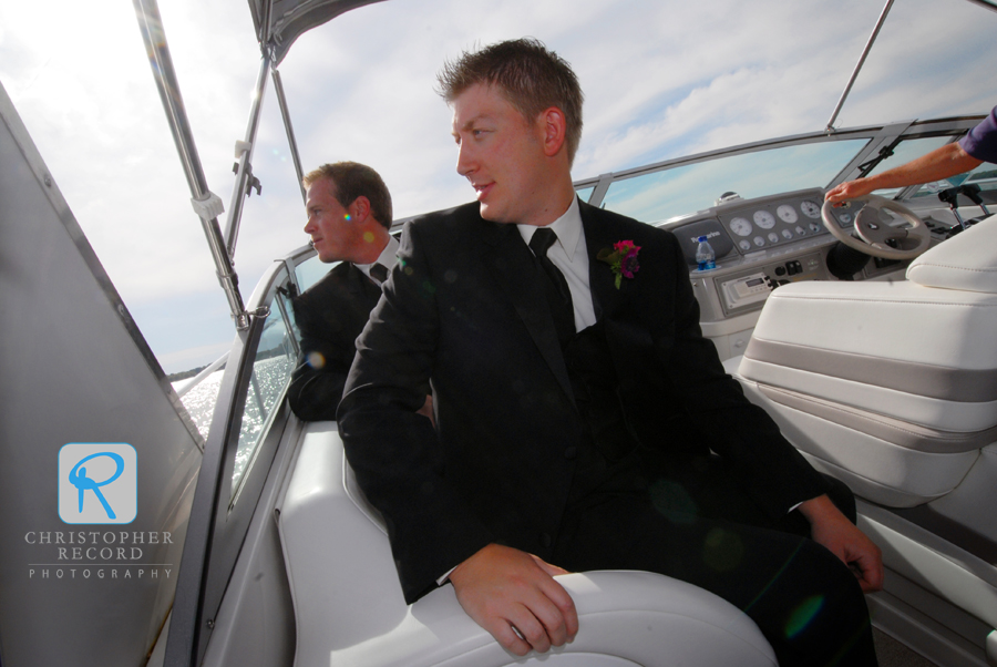 The men, including Alison's brother Chris in front, got a boat ride to the ceremony