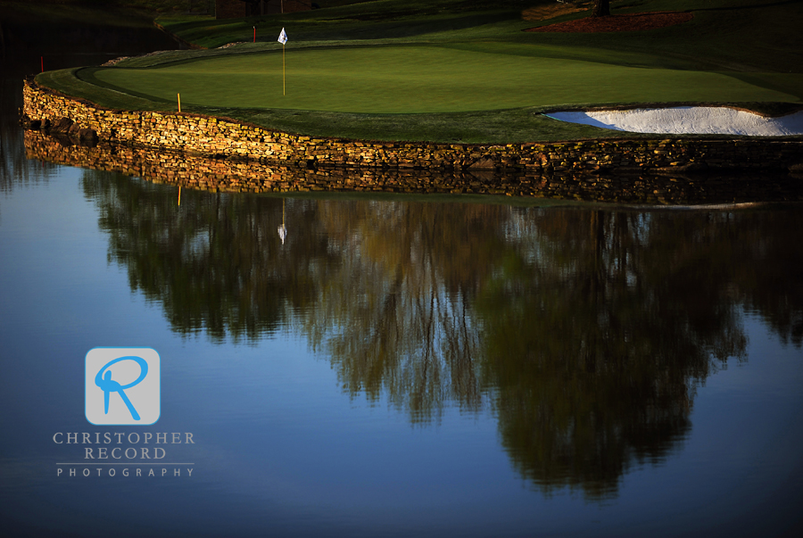 The imposing 17th hole at Quail Hollow requires a precise tee shot or you'll be taking a swim