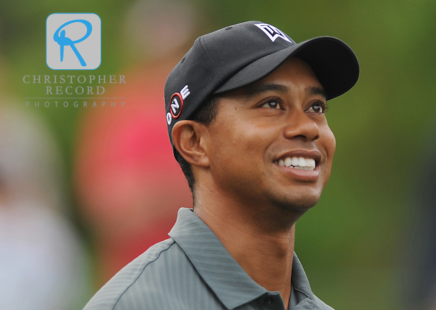 Tiger Woods was in a good mood during Wednesday's Pro-Am