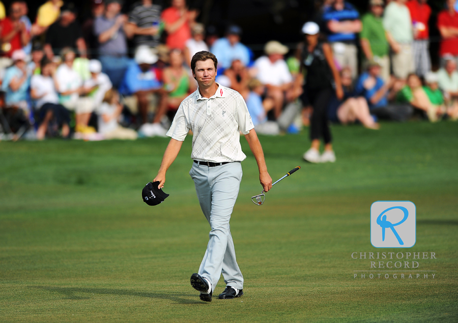 Sean O'Hair walks up the 18th hole on the way to the biggest win of career.