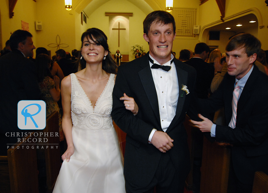 Kelsey and Connor are all smiles as they leave the church