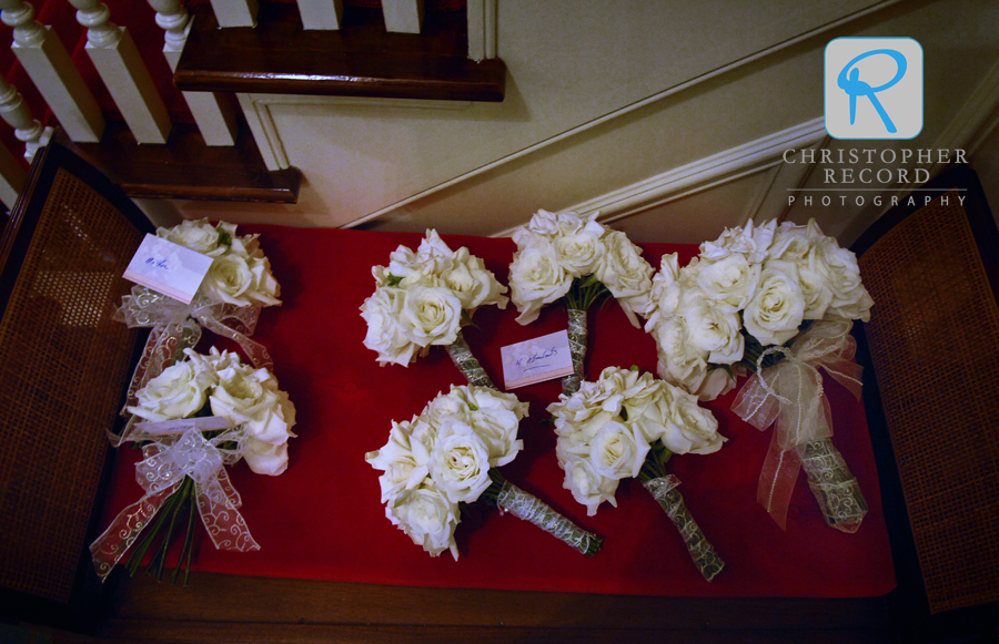 Bouquets organized on a bench before the ceremony at Providence United Methodist Church