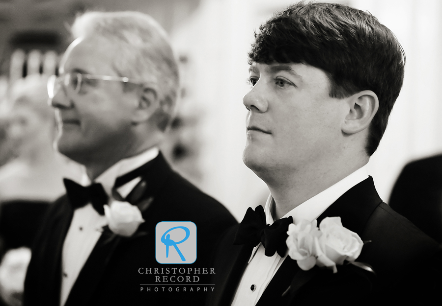 Taylor and his dad get ready to walk down the aisle