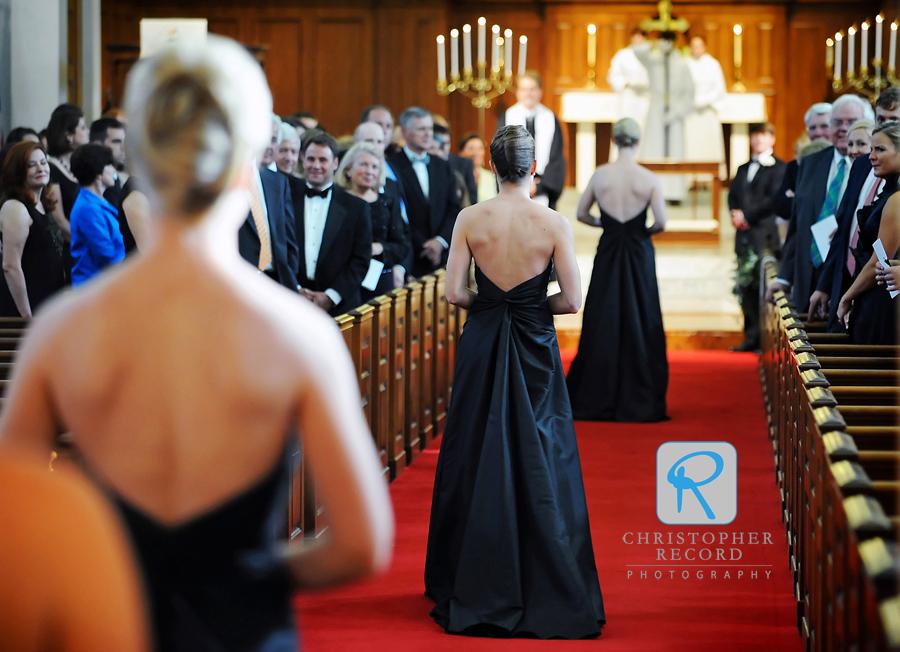 The bridesmaids make their entrance