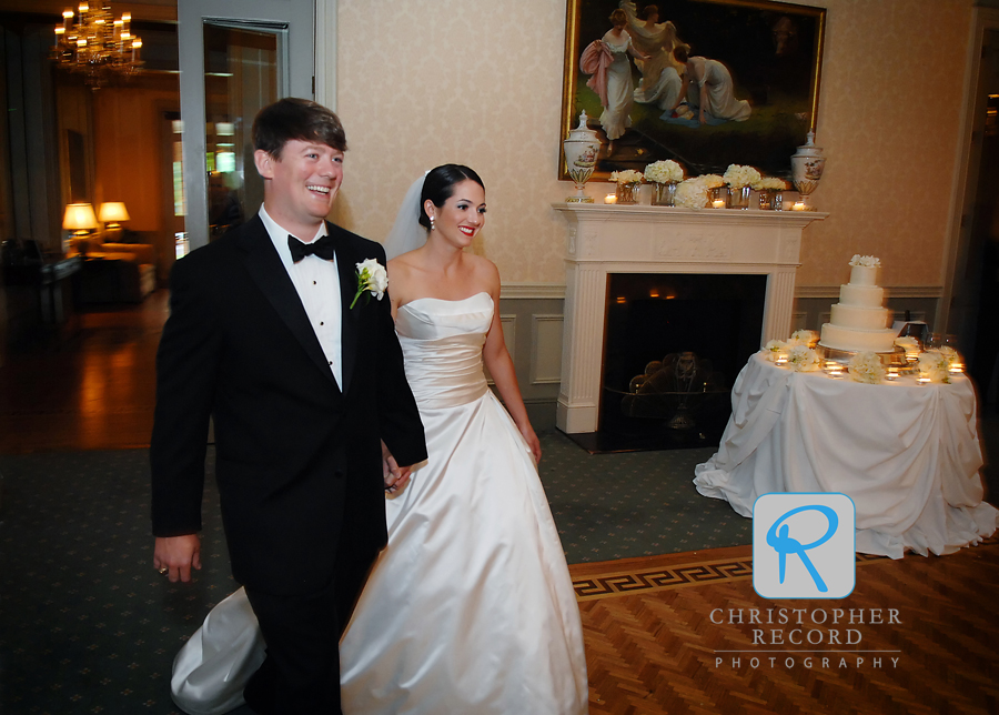 Elizabeth and Taylor enter the ballroom at Carmel Country Club