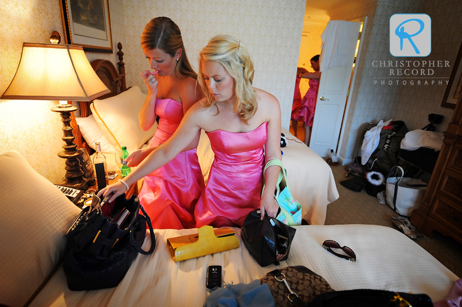 Katie and Mollie get ready at the Inn at the Biltmore Estate