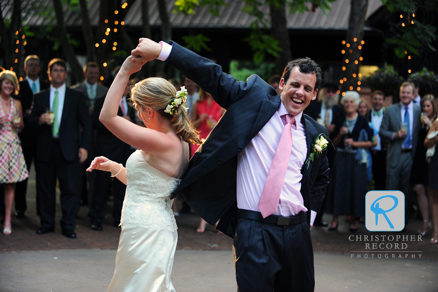 The couple displays some fancy dance moves