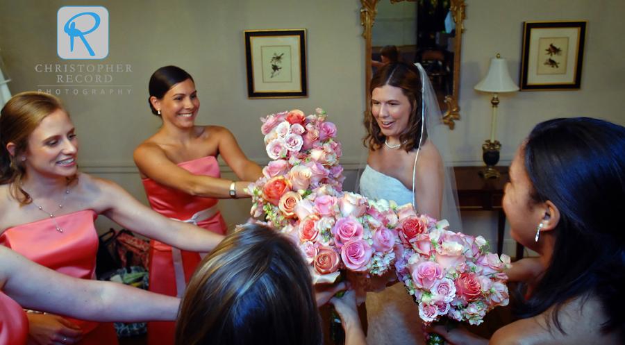 The girls do a little pre-wedding flower bump