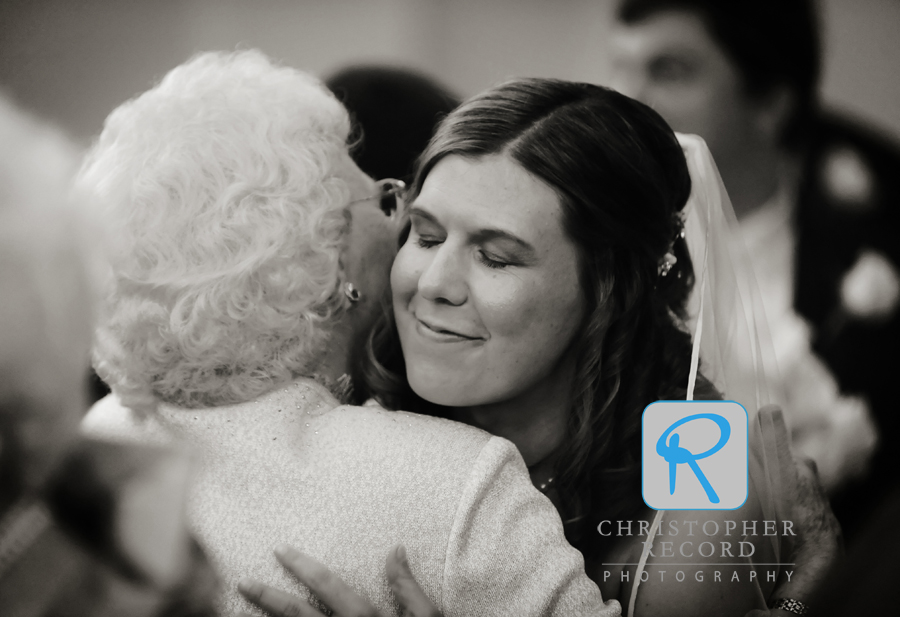 Catherine gets a congratulatory hug from her grandmother