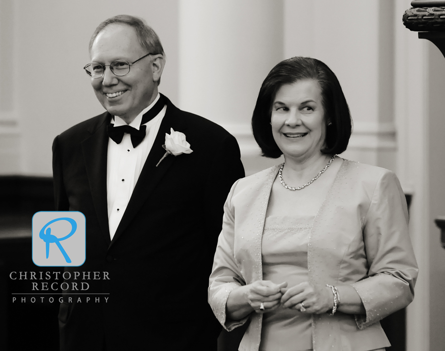 Catherine's parents, who had weddings for both of their daughters this summer, relax a bit after the cermeony