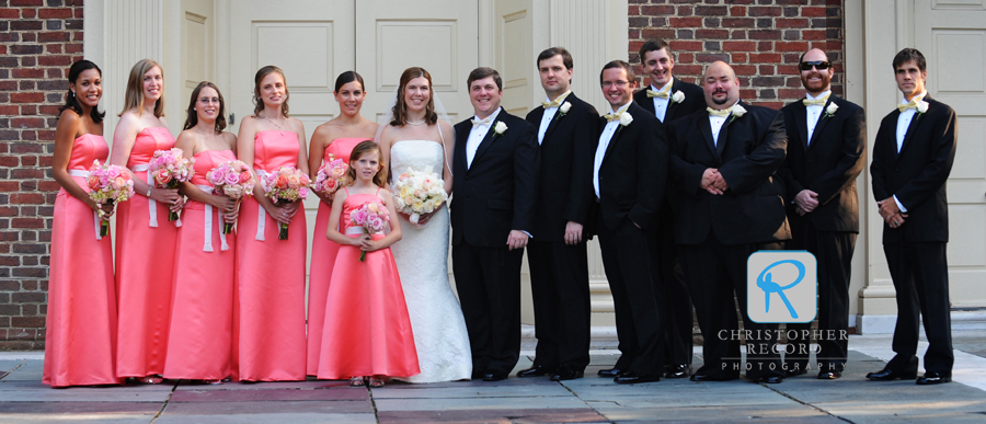 The wedding party in front of Myers Park Baptist Church