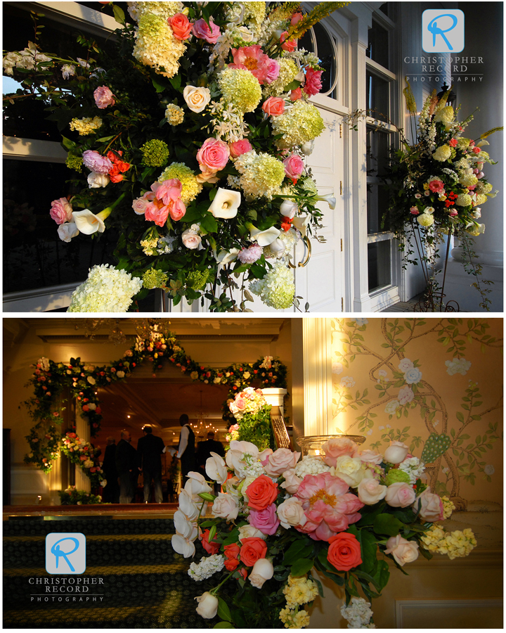 Myers Park Country Club adorned in flowers from The Blossom Shop
