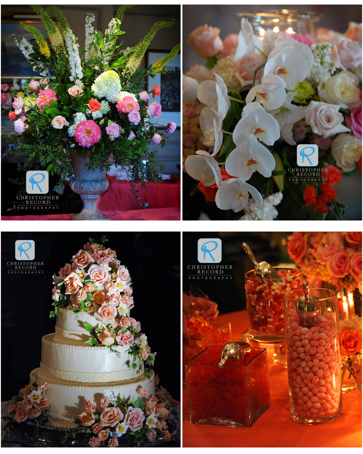 Recipe for a great reception: flowers from The Blossom Shop, cake by Kathy Allen and planning by Ivy Robinson Weddings and Events