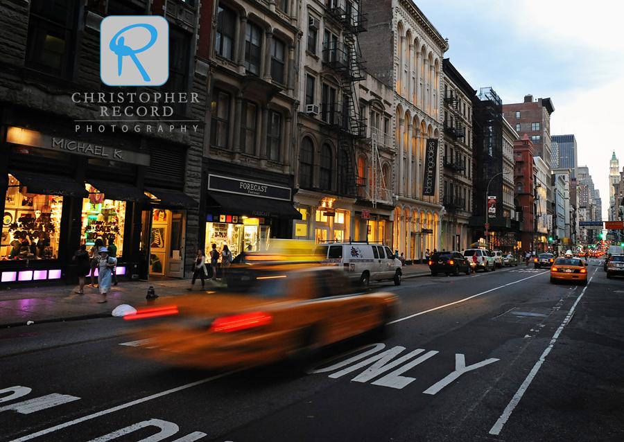 An evening street scene