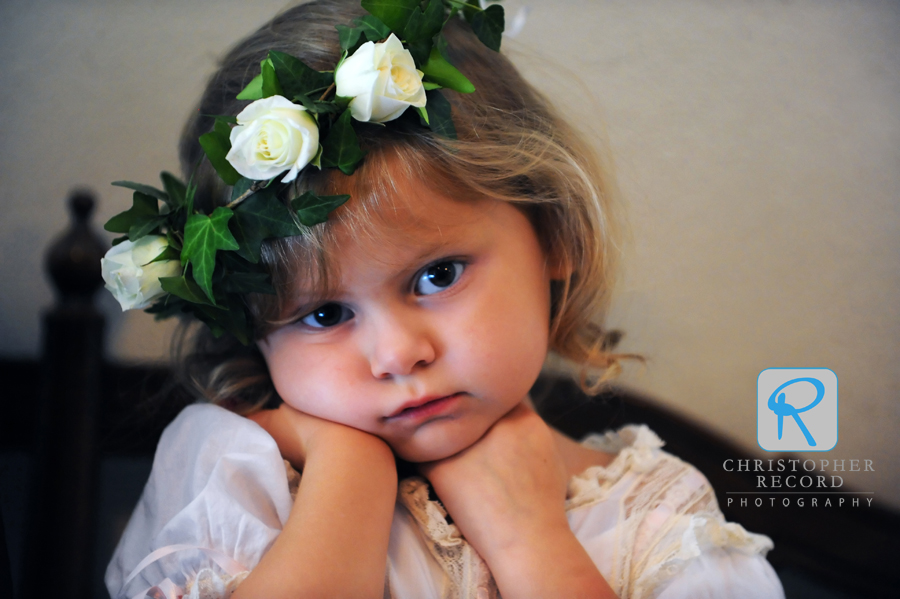 The waiting is the hardest part. Rob's niece, Annie, is ready for her flower girl duties
