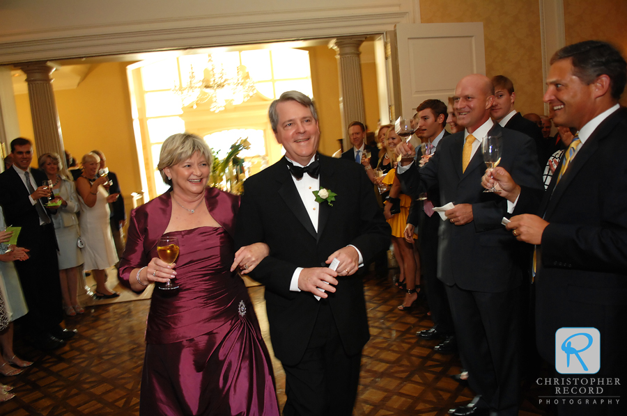 Debbie and Pat make their way into the reception