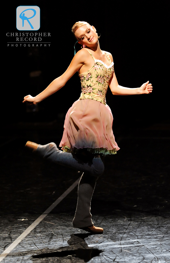 Sarah Hayes Watson works on her moves before the curtain opens