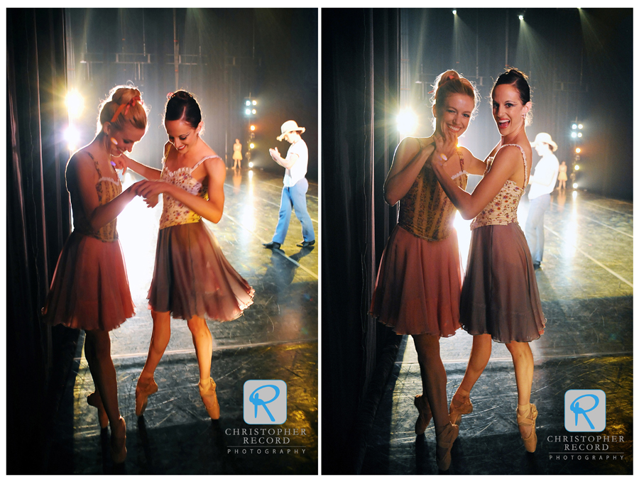 Sarah James and Alessandra Ball have some fun waiting to go on stage