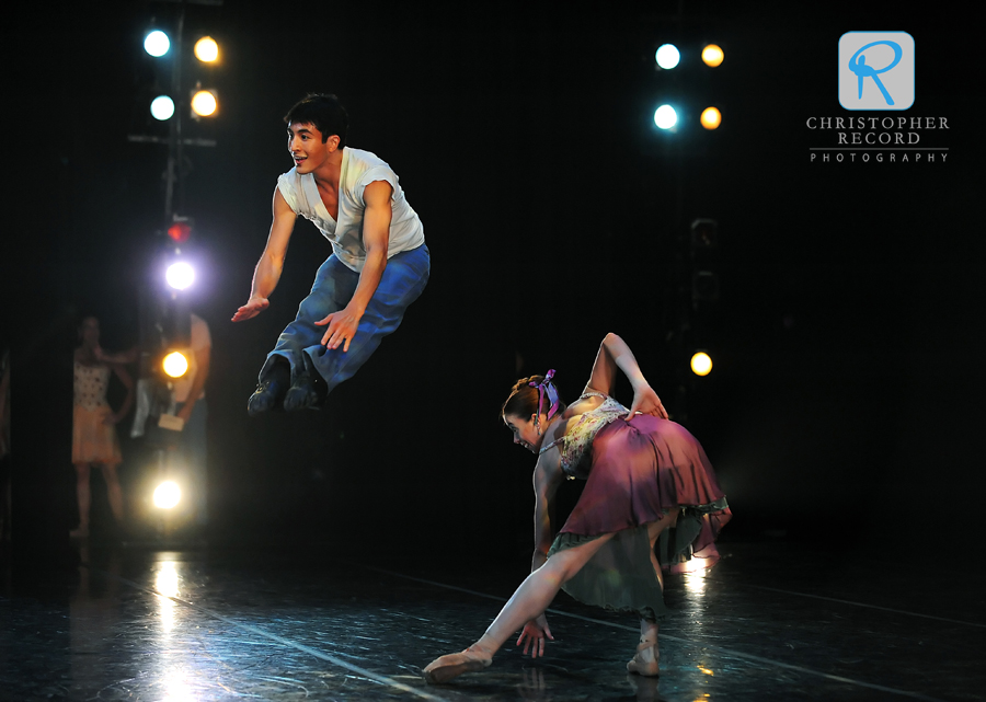 Max Levy leaps while dancing with Traci Gilchrest