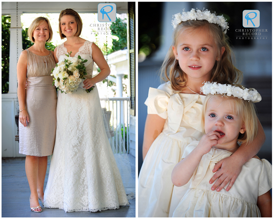 Stephanie with her mother, Lyn, and flower girls Lilly and Ashley