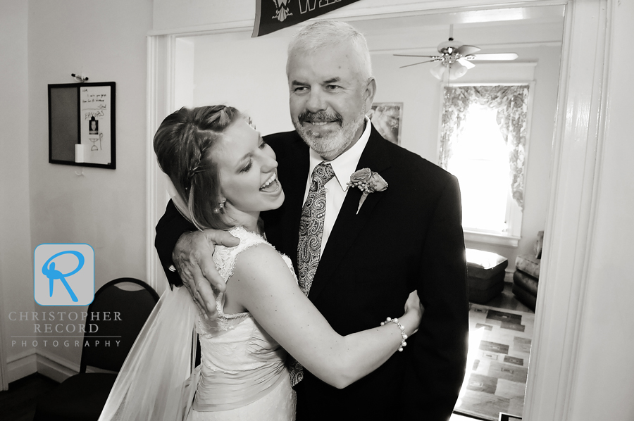 Stephanie and her father, Steve, share a nice moment before the service
