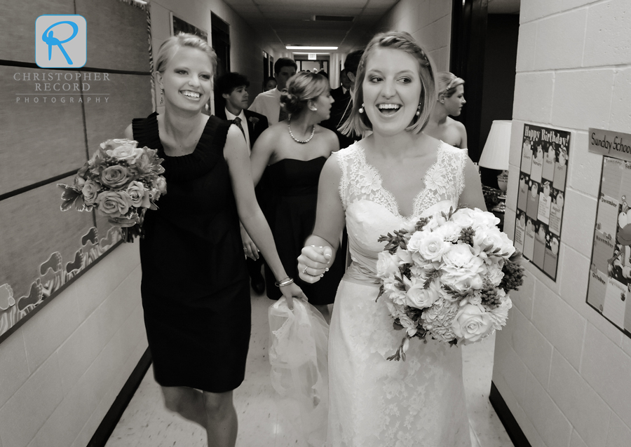 Sarah and Stephanie are all smiles after the ceremony