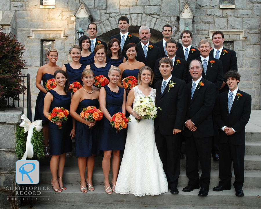The wedding party outside the church