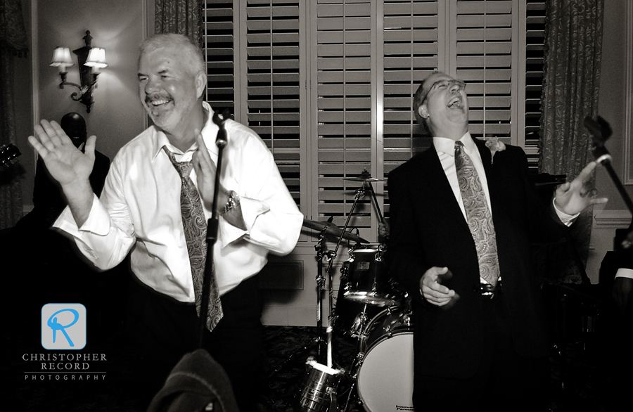 """The two dads, Stephanie's on the left, give their best """"Soul Man"""" moves"""