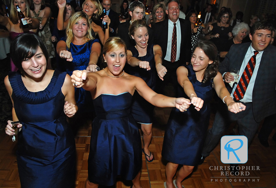 The dancers never stopped during the reception