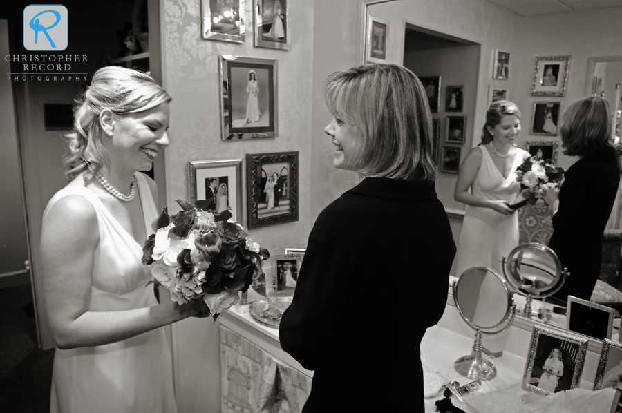 Liz tells her sister she looks beautiful as they wait in the bride's room at First Presbyterian