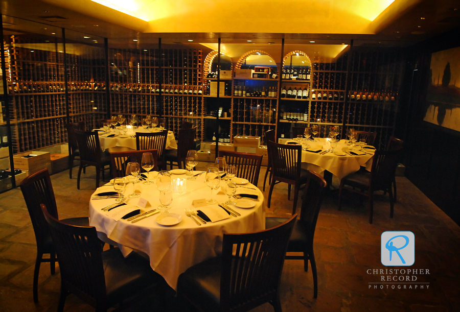 The wine cellar at Del Frisco's was a wonderful setting for the intimate dinner