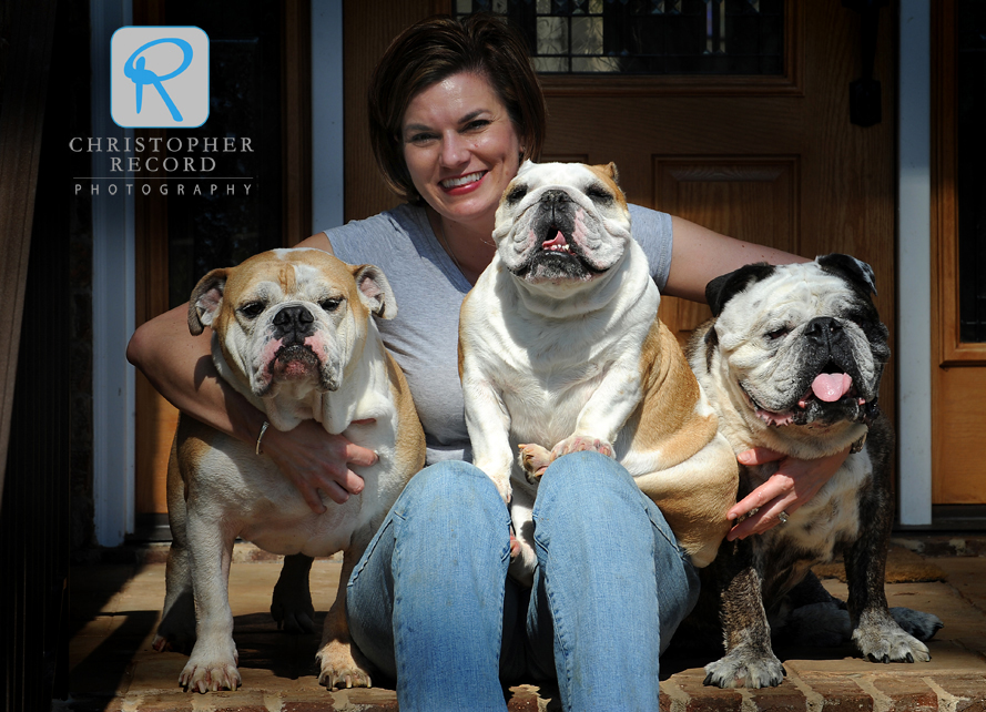 Family portrait: Kelley with Lucas, Lily and Brutas