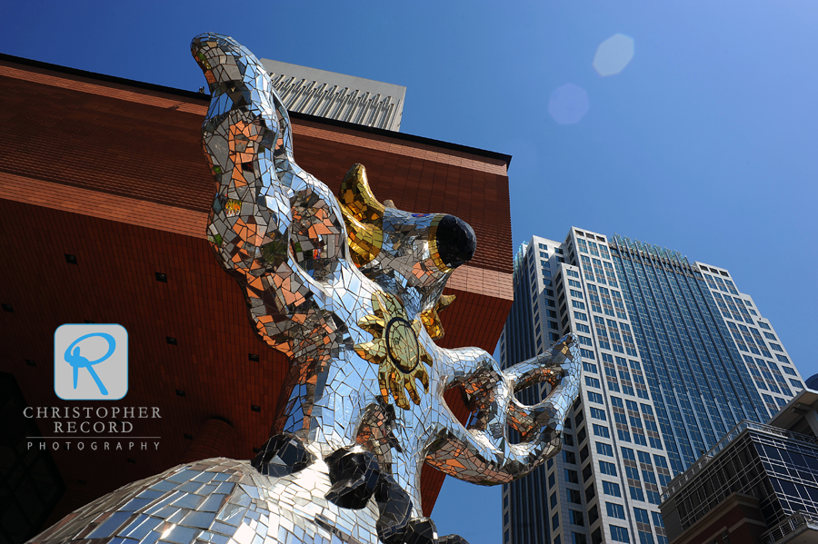 A sun god? No, but the Firebird statue outside the Bechtler Museum, appears to be welcoming the sun