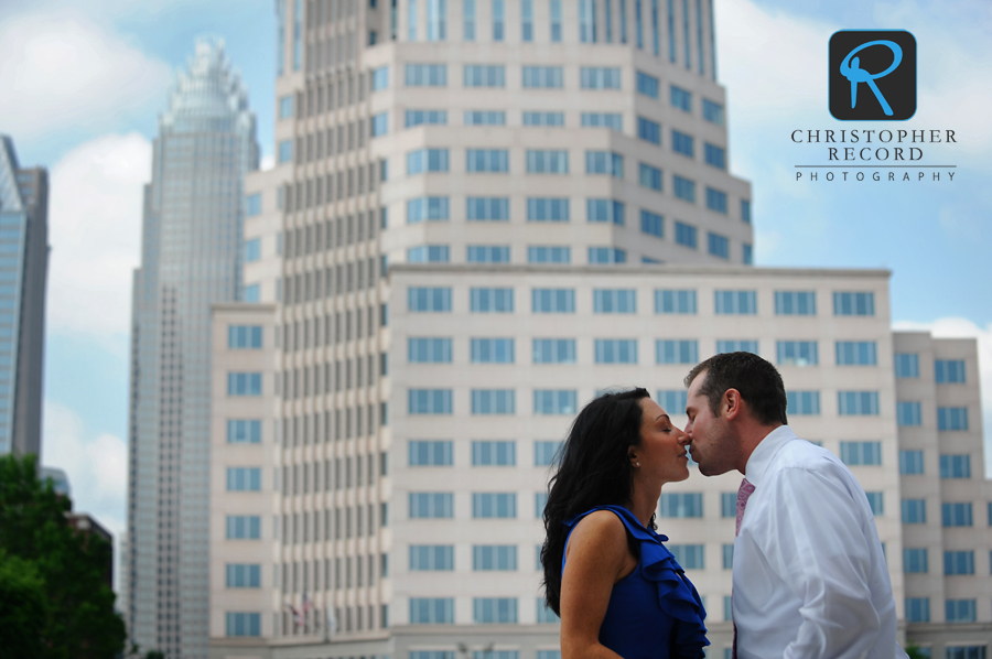 The Charlotte skyline provides the backdrop for Tara and Ryan