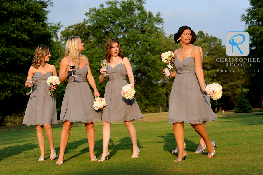 Bridesmaids in some beautiful early evening light