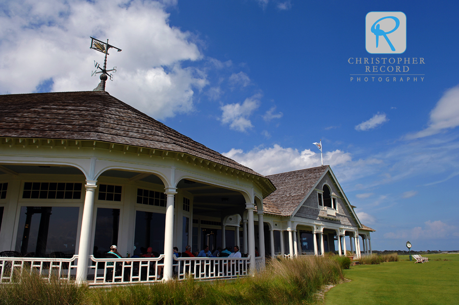 The clubhouse for the Ocean Course on a beautiful afternoon