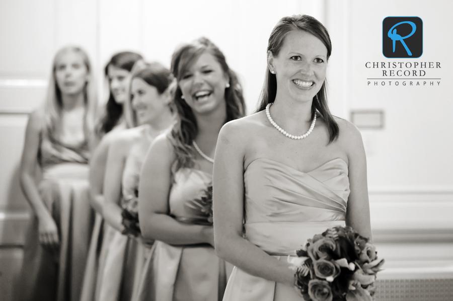 The bridesmaids prepare to enter