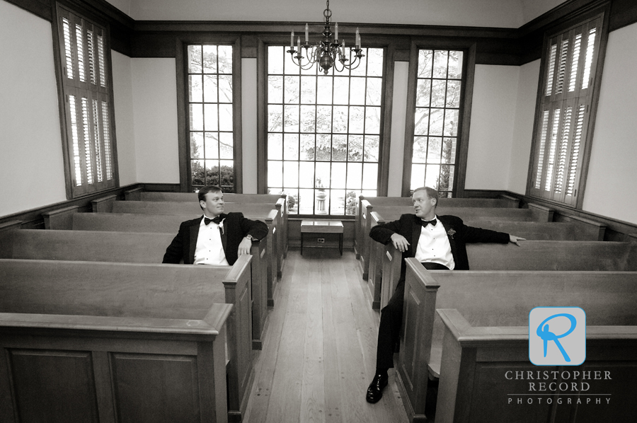 Greg and his Best Man relax at Christ Episcopal