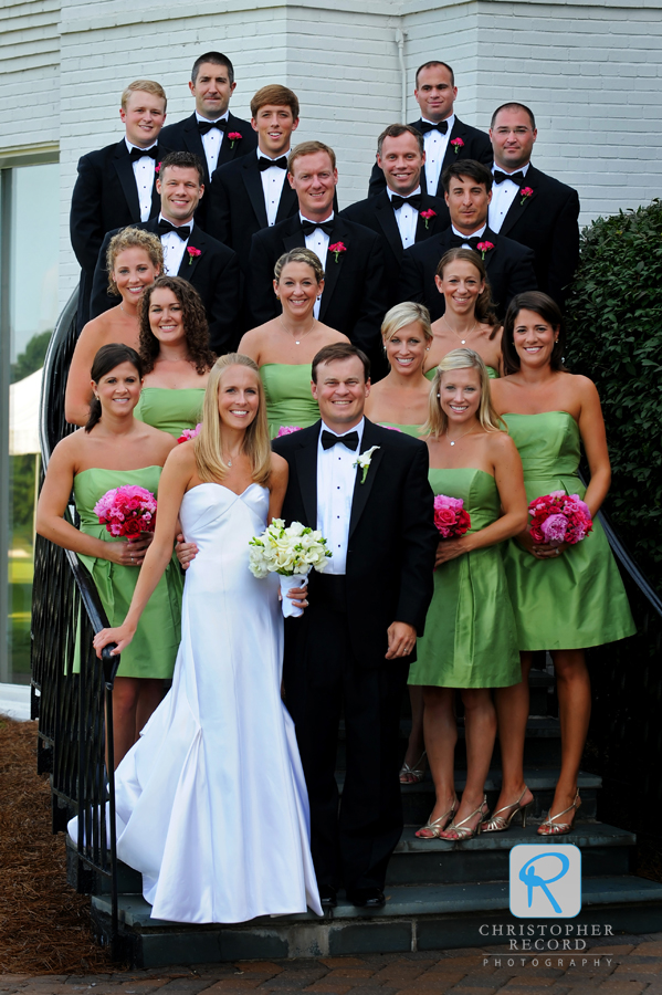 The wedding party at Myers Park Country Club