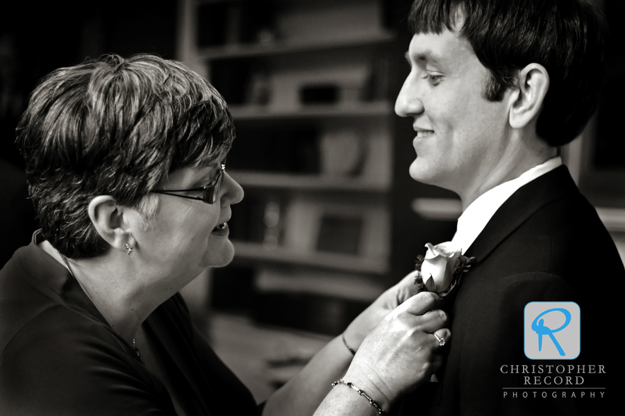 Adam captured Jim's mother pinning his boutonniere