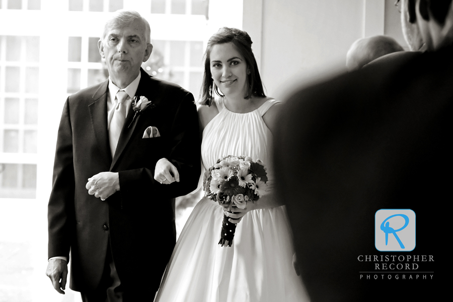 Adam's view of Jade and her father walking up the aisle