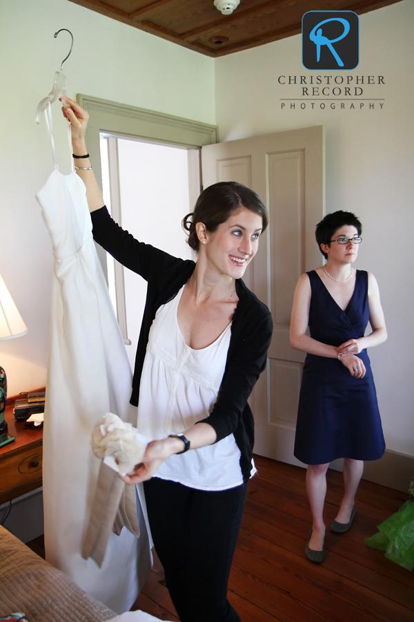 Dana prepares to get dressed