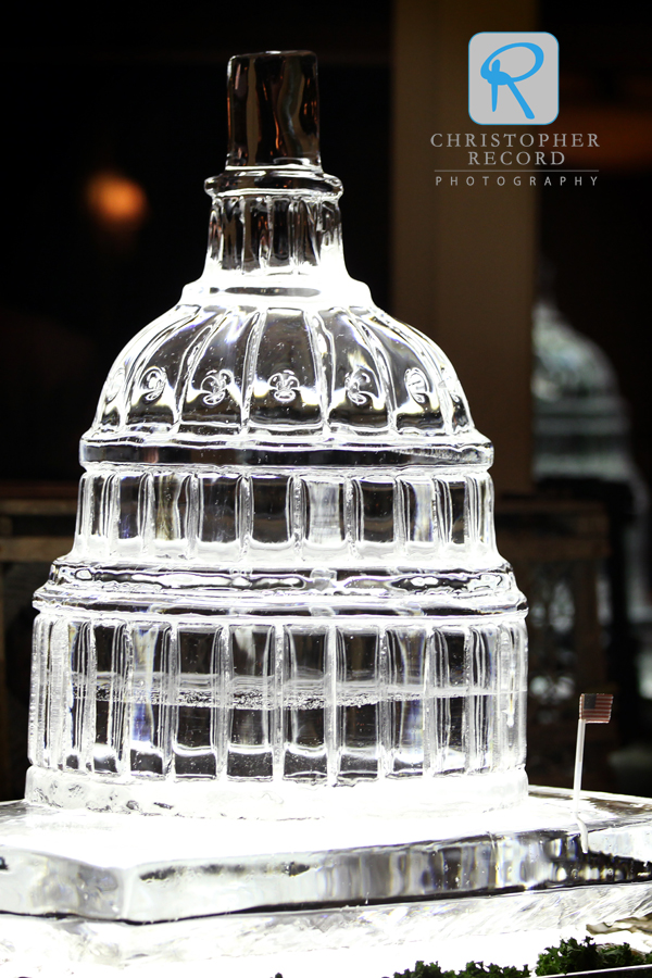 Amazing ice sculpture of the U.S. Capitol, where Brian proposed to Christina
