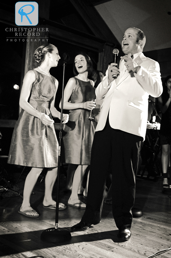 Brian got some backup from the bridesmaids as he sang for the crowd